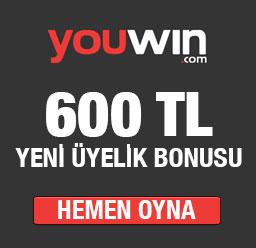 Youwin 600 TL Yeni Üyelik Bonusu